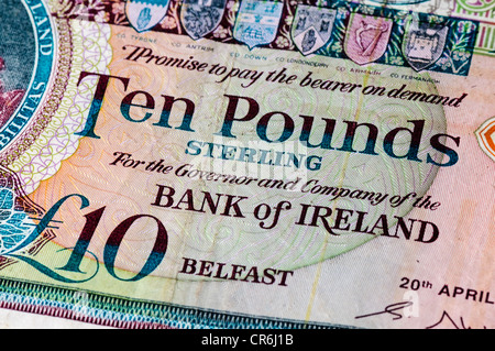 Bank of Ireland ten pound note, as used in Northern Ireland - Stock Photo