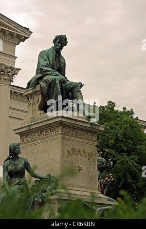 Monument to poet János Arany, in garden of the Hungarian National Museum, Budapest - Stock Photo