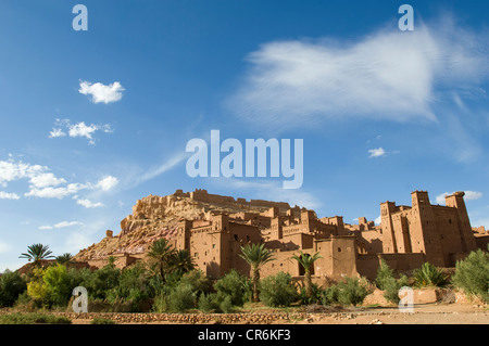 Clouds above the ruined Kasbahs in the fortified town (ksar) of Ait Benhaddou, Morocco - Stock Photo