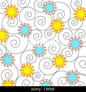 Artistic flowers and swirls pattern on white - Stock Photo