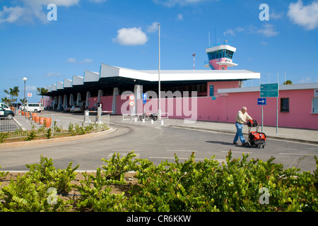 Tower of Flamingo Airport, Bonaire International Airport, Kralendijk, Bonaire, Netherlands Antilles, Antilles, Caribbean - Stock Photo