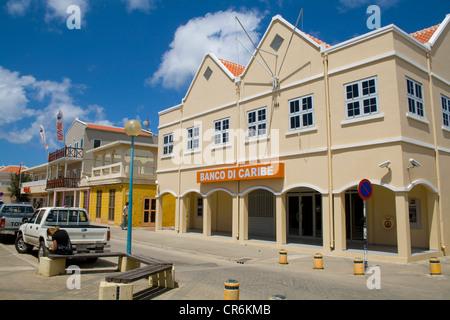 Houses from the Dutch colonial period after 1830, Kralendijk, Bonaire, Netherlands Antilles, Antilles, Caribbean - Stock Photo