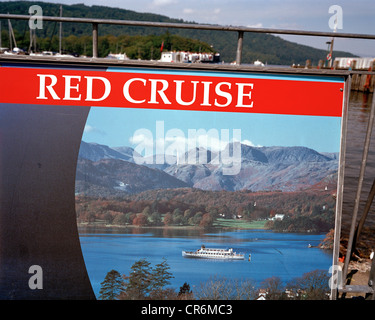 Cruising poster for one particular boating excursion on Lake Windermere. - Stock Photo