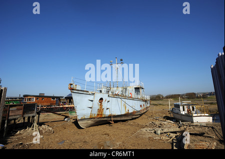 Houseboats moored on the River Adur at Shoreham by Sea - Stock Photo