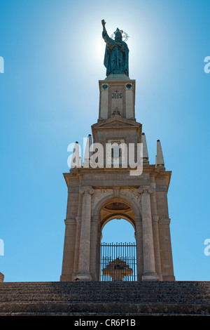 Christ the King monument, Santuari de Sant Salvador Monastery, Santuario de San Salvador, founded in 1342, on Puig - Stock Photo
