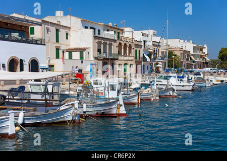 Fishing boats in the harbour of Porto Colom, Felanitx, Majorca, Balearic islands, Spain, Mediterranean Sea, Europe - Stock Photo