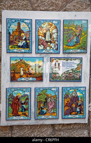 Images of saints on tiles, Valldemossa, Comarca Serra de Tramuntana region, Majorca, Balearic islands, Spain, Europe - Stock Photo