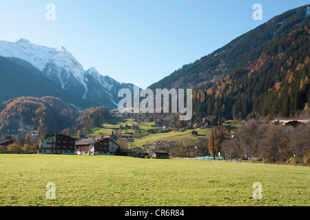 Entrance to the Tuxertal valley, near , popular resort town in the Zillertal, Schwaz district, Zillertal, Tyrol, - Stock Photo