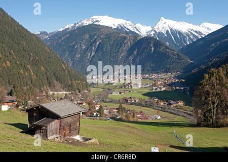 Mayrhofen, popular resort town in the Zillertal valley, Schwaz district, Zillertal valley, Tyrol, Austria, Europe - Stock Photo
