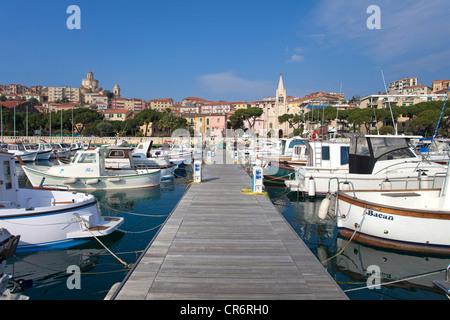 Boats in the harbor of Porto Maurizio, , port city on the Ligurian coast, Riviera di Ponente, Liguria, Italy, Mediterranean