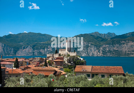 View over the roofs on the Scaliger fortress, old town of Malcesine, Verona province, Lake Garda, Veneto, Italy, - Stock Photo