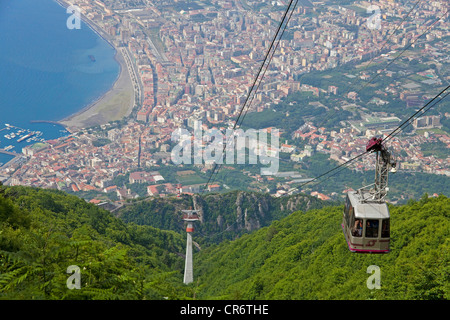 View from the 1131m-high Mt. Monte Faito on , Peninsula of Sorrento, Gulf of Naples, Campania, Italy, Mediterranean - Stock Photo