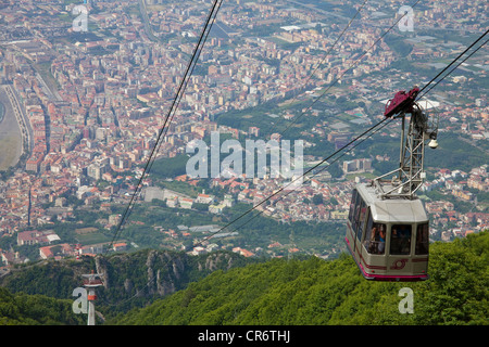 View from the 1131m-high Mt. Monte Faito on , Peninsula of Sorrento, Gulf of Naples, Campania, Italy, Europe - Stock Photo