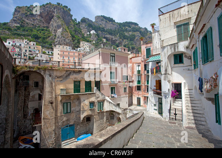 Alley in the historic district of , Amalfi Coast, Unesco World Heritage site, province of Salerno, Gulf of Salerno - Stock Photo