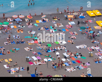 People on the beach of Positano, Amalfi Coast, Salerno Province, Gulf of Salerno, Campania, Italy, Europe - Stock Photo