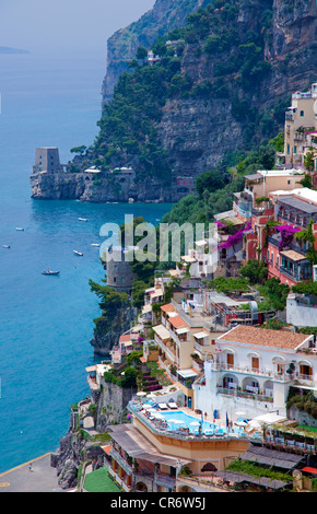 View on the town with watchtower, , Amalfi Coast, Unesco World Heritage Site, Province of Salerno, Gulf of Salerno, - Stock Photo
