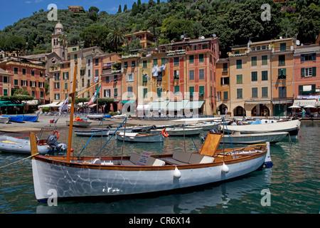 Boats in the harbour of Portofino, Liguria, Levante, Italy, Europe - Stock Photo