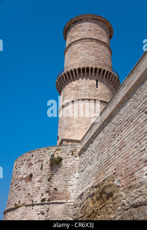 Tower of the Fort of St. Jean at the entrance to the old port, Vieux Port, , Bouches-du-Rhone, Provence-Alpes-Cote - Stock Photo
