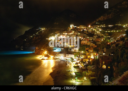 High Angle View of Positano Nightscape, Campania, Italy - Stock Photo