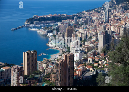 View from the Grande Corniche on Monaco, Europa - Stock Photo