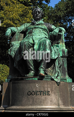 Statue of Johann Wolfgang von Goethe, 1749 - 1832, on the corner of Opernring street and Goethestrasse street, Vienna, - Stock Photo