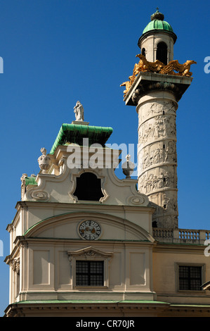 Karlskirche, St. Charles Church, with a column, Roman Baroque, completed in 1737, Argentinierstrasse, Vienna, Austria, - Stock Photo
