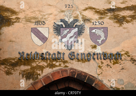 Three town coats of arms above the door of Kinzigturm tower, 13th Century, Gengenbach, Baden-Wurttemberg, Germany, - Stock Photo