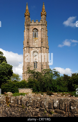 Steeple of St Pancras Church, Widecombe-in-the-Moor, Dartmoor National Park, Devon, England, United Kingdom, Europe - Stock Photo