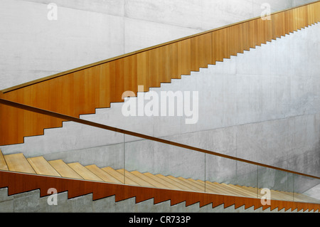 Modern staircase in the Museum Georg Schaefer, Brueckenstrasse 20, Schweinfurt, Lower Franconia, Bavaria, Germany, - Stock Photo
