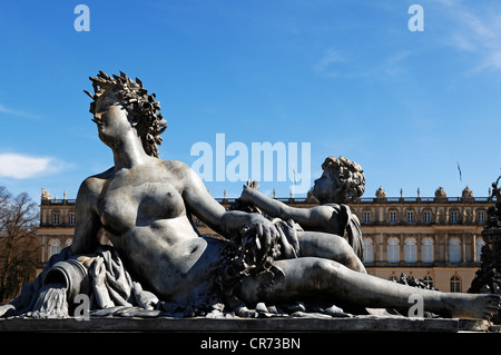 Mythological statue on the Fortuna fountain, by Wilhelm von Ruemann, built between 1884 and 1885, in front of Herrenchiemsee - Stock Photo