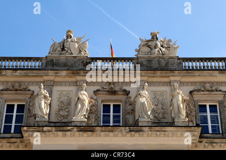 Sculptures on the west facade of Herrenchiemsee Palace, Herreninsel island, Bavaria, Germany, Europe - Stock Photo