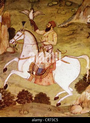 Shah Jahan, 5.1.1592 - 22.1.1666, Mughal Emperor of India 1627 - 1658, half length, during falconry, miniature painting, - Stock Photo