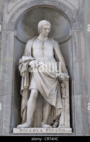 Pisano, Nicola, 1205 - 1278, Italian artist (sculptor), architect, full length, statue, Galleria degli Uffici, Florence, - Stock Photo