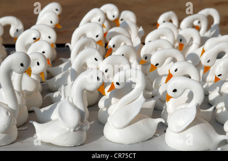 Meringue swans with beaks made from apricots in a patisserie - Stock Photo