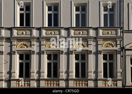 Decorative townhouse facade from the 19th Century, Mecklenburgstrasse 14, Schwerin, Mecklenburg-Western Pomerania