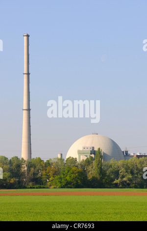 Grafenrheinfeld Nuclear Power Station, Grafenrheinfeld, Lower Franconia, Franconia, Bavaria, Germany, Europe - Stock Photo