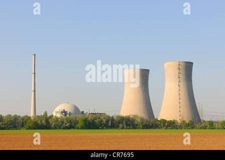 Grafenrheinfeld Nuclear Power Station, out of service, Grafenrheinfeld, Lower Franconia, Franconia, Bavaria, Germany, - Stock Photo