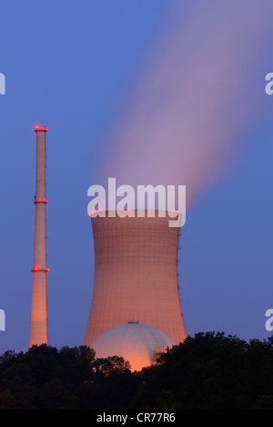 E.ON Grafenrheinfeld Nuclear Power Plant, cooling towers, near Schweinfurt, Bavaria, Germany, Europe - Stock Photo