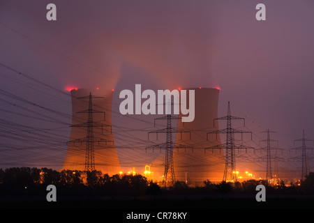 Cooling towers of the Grafenrheinfeld E.ON nuclear power plant, Schweinfurt, Bavaria, Germany, Europe - Stock Photo