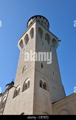 Tower in the courtyard of Schloss Neuschwanstein castle, near Fuessen, Ostallgaeu, Allgaeu, Bavaria, Germany, Europe - Stock Photo
