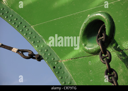 Hull of a ship with an anchor chain, Hamburg, Germany, Europe - Stock Photo