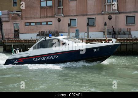 Venetian Carabinieri Police boat, Venice, Italy. - Stock Photo