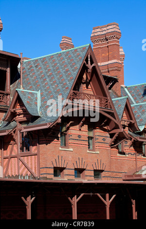 United States, New England, Connecticut, Hartford, house of American writer Samuel Langhorne Clemens known as Mark - Stock Photo