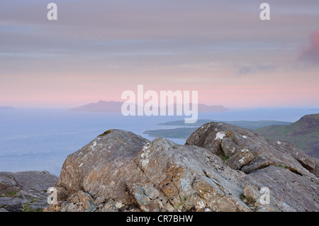 View towards the Island of Rum from the summit of Sgurr Na Stri on the Isle of Skye, Scotland