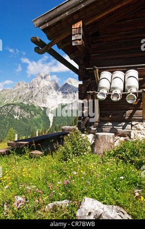 Austria, Salzburg County, Alpine hut in front of Mount Bischofsmutze - Stock Photo