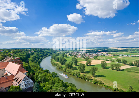 View over the Neckar River from Blue Tower, Bad Wimpfen, Neckartal, Baden-Wuerttemberg, Germany, Europe - Stock Photo