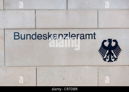 Bundeskanzleramt, German for Chancellor's Office, signage on the wall surrounding the Chancellery in Berlin, PublicGround - Stock Photo