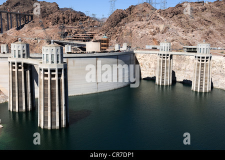 Hoover Dam on Lake Mead, near Las Vegas, Nevada, USA - Stock Photo