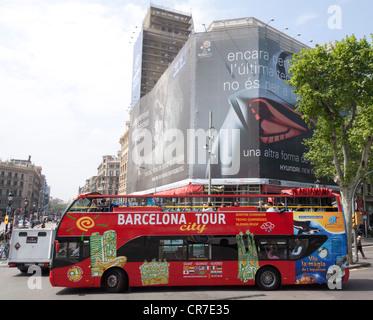 Barcelona City Tour, Placa de Catalunya square, bus station, sightseeing tour, Barcelona, Catalonia, Spain, Europe - Stock Photo