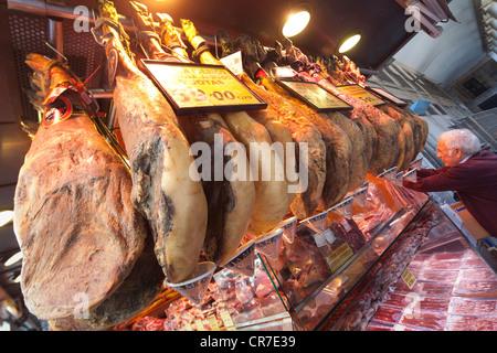 Iberian, Spanish ham, price tags, La Boqueria, market, Rambla, Rambles, pedestrian area, Barcelona, Catalonia, Spain, - Stock Photo